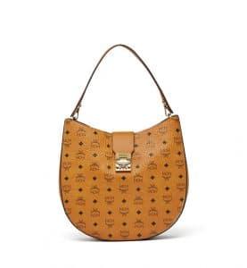 MCM Cognac Visetos Large Patricia Hobo Bag