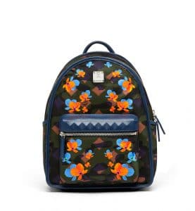 MCM Loden Green Floral Camo Nylon Dieter Backpack Bag