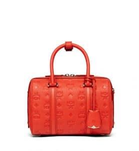 MCM Marigold Orange Monogrammed Leather Small Essential Boston Bag