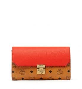 MCM Marigold Orange Visetos Leather Block Patricia Shoulder Bag