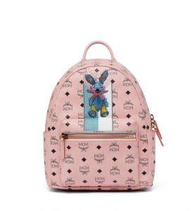 MCM Soft Pink Studded Rabbit Stark Backpack Bag
