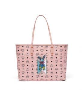 MCM Soft Pink Studded Rabbit Top Zip Shopper Bag
