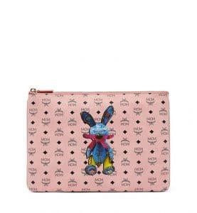 MCM Soft Pink Visetos Rabbit Crossbody Pouch Bag