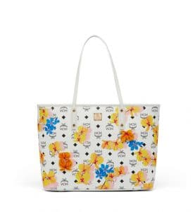 MCM White Floral Print Visetos Essential Top Zip Shopper Bag