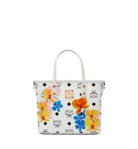 MCM White Floral Print Visetos Mini Essential Top Zip Shopper Bag