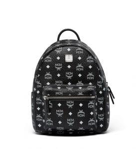 MCM White Logo Black Visetos Stark Backpack Bag