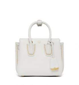 MCM White Studded Outline Mini Milla Tote Bag