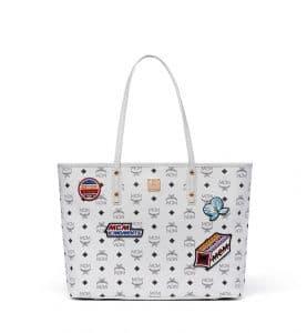 MCM White Victory Patch Visetos Anya Top Zip Shopper Bag