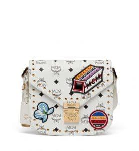MCM White Victory Patch Visetos Essential Boston Bag