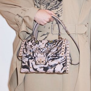 Valentino Beige/Black Printed Rockstud Flap Bag - Pre-Fall 2018