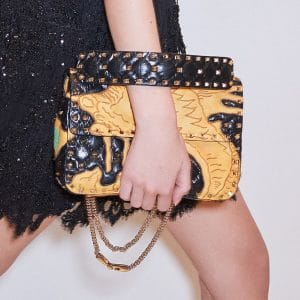 Valentino Black Dragon Embroidered Rockstud Spike Flap Bag - Pre-Fall 2018