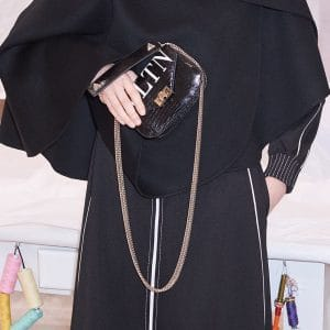 Valentino Black Python VLTN Chain Crossbody Bag - Pre-Fall 2018