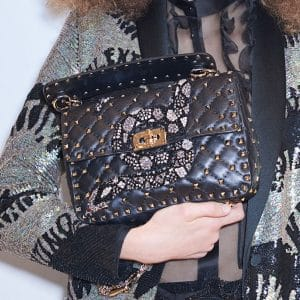 Valentino Black Snake Embroidered Rockstud Spike Flap Bag - Pre-Fall 2018