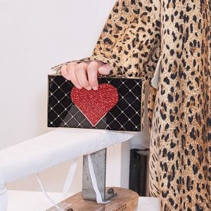 Valentino Black with Heart Pattern Minaudiere Bag - Pre-Fall 2018