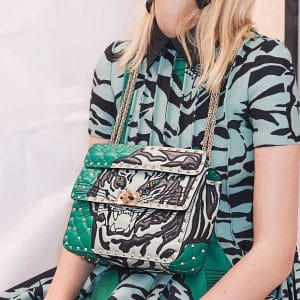 Valentino Green Tiger Embroidered Rockstud Spike Flap Bag - Pre-Fall 2018