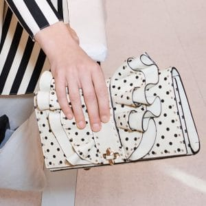 Valentino White Polkadot Rockstud Clutch Bag - Pre-Fall 2018