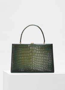 Celine Olive Crocodile Medium Clasp Bag