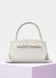 Celine White Shiny Calfskin Small Purse with Eyelets Bag