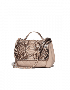 Chanel Beige Python/Calfskin Business Affinity Top Handle Bag
