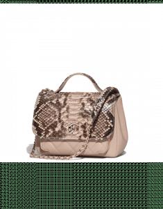 Chanel Beige Python/Calfskin Business Affinity Top Handle Bag
