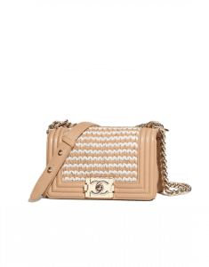 Chanel Beige/White Braided Lambskin Boy Chanel Small Flap Bag