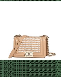 Chanel Beige/White Braided Lambskin Boy Chanel Small Flap Bag