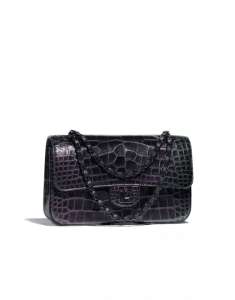 Chanel Black Alligator Classic Flap Medium Bag