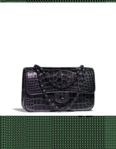 Chanel Black Alligator Classic Flap Medium Bag