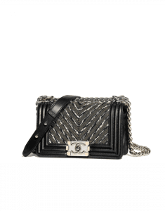 Chanel Black Calfskin/Chain/Tweed Boy Chevron Small Flap Bag