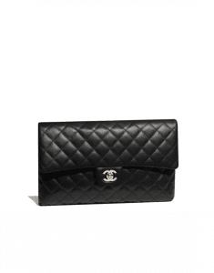 Chanel Black Classic Quilted Clutch Bag