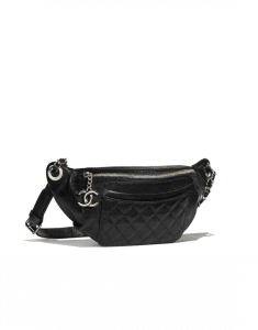 Chanel Black Crumpled Calfskin Bi Quilted Waist Bag