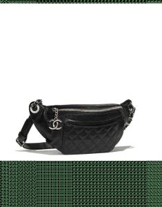 Chanel Black Crumpled Calfskin Bi Quilted Waist Bag
