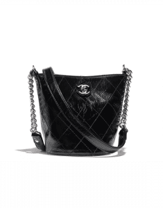 Chanel Black Crumpled Calfskin Small Bucket Bag