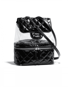 Chanel Black Crumpled Calfskin/PVC Aquarium Backpack Medium Bag