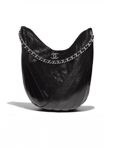 Chanel Black Crumpled Patent Droplet Hobo Bag