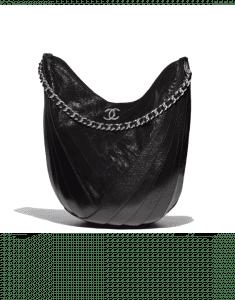 Chanel Black Crumpled Patent Droplet Hobo Bag
