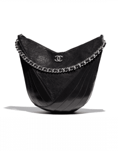 Chanel Black Crumpled Patent Droplet Small Hobo Bag