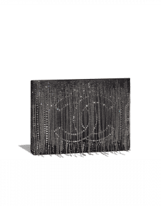 Chanel Black Embroidered Goatskin Metallic Fringe Clutch Bag