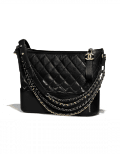 Chanel Black Goatskin Gabrielle Hobo Bag