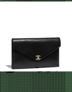 Chanel Black Lambskin Clutch Bag