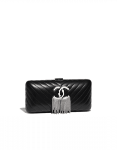 Chanel Black Lambskin/Chains Metallic Fringe Evening Bag