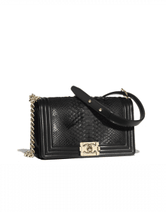 Chanel Black Python Boy Chanel Old Medium Flap Bag
