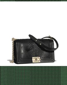 Chanel Black Python Boy Chanel Old Medium Flap Bag