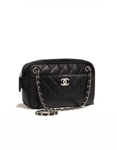 Chanel Black Quilted Lambskin Large Camera Case Bag