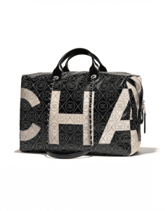 Chanel Black/Beige Printed Canvas Maxi Chanel Bowling Bag
