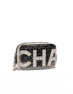 Chanel Black/Beige Printed Canvas Maxi Chanel Camera Case Bag