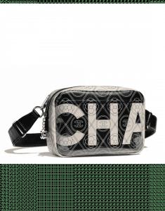 Chanel Black/Beige Printed Canvas Maxi Chanel Large Camera Case Bag