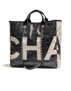 Chanel Black/Beige Printed Canvas Maxi Chanel Large Shopping Bag