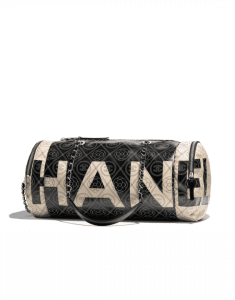 Chanel Black/Beige Printed Canvas Maxi Chanel Small Bowling Bag