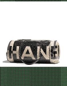 Chanel Black/Beige Printed Canvas Maxi Chanel Small Bowling Bag